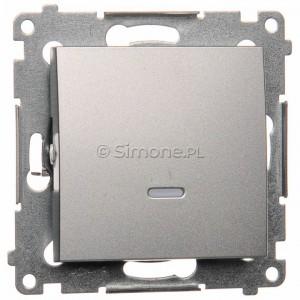 Simon 54 DW8L.01/43 - Łącznik uniwersalny z podświetleniem typu LED w kolorze niebieskim - Srebrny Mat - Podgląd zdjęcia nr 1