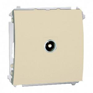 Simon Classic MAK3.01/12 - Gniazdo antenowe pojedyncze końcowe (Mechanizm + Plakietka) - Beżowy - Podgląd zdjęcia nr 1