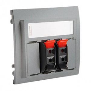 Simon Classic MGL3.01/26 - Gniazdo głośnikowe podwójne z możliwością rozbudowy do 4-krotnego (Mechanizm + Plakietka) - Aluminiowy Met. - Podgląd zdjęcia nr 1
