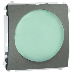 Simon Classic MSS/3.01/25 - Sygnalizator świetlny LED - światło zielone (Mechanizm + Plakietka) - Grafitowy Met. - Podgląd zdjęcia nr 1