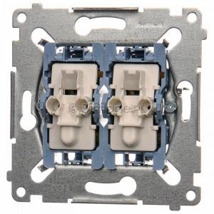 Simon 54 SW6/2XLM - Mechanizm łącznika schodowego podwójnego z podświetleniem LED 10A (niezależny układ podświetlający dla każdego z klawiszy, do kompletu należy dokupić rameczkę oraz klawisze) - Mechanizmy - Podgląd zdjęcia nr 1